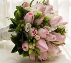 Freesia and Pink Rose Bouquet