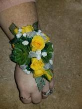 Succulent & Spray Roses Wrist Corsage