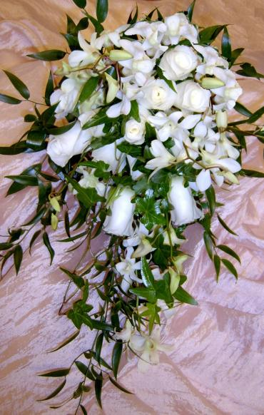Cascading White Rose Bouquet with Orchids